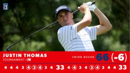 决赛轮托马斯将向职业生涯第13个美巡赛冠军发起冲击 贾斯汀-托马斯冲上了成绩榜首位